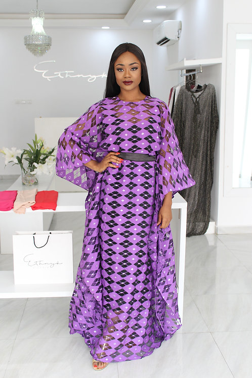 Ama Lade Luxe Purple & Black Diamond Kaftan
