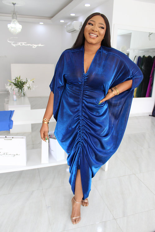 Dayo Royal Blue Metallic  Kaftan