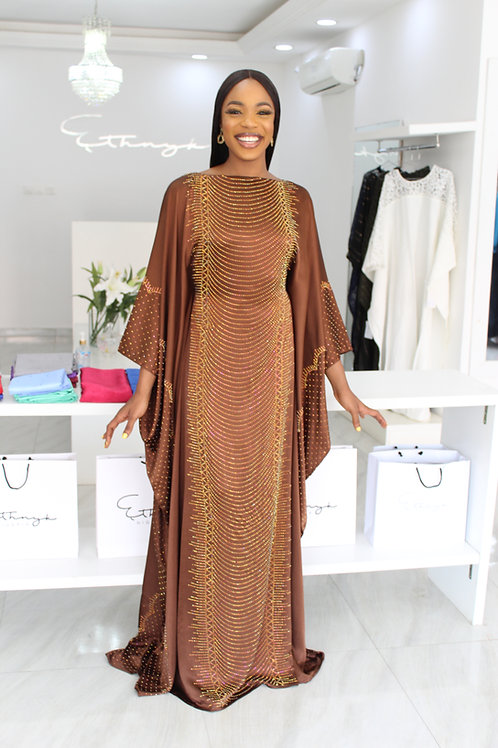 Lara Sisi Golden Brown  Kaftan