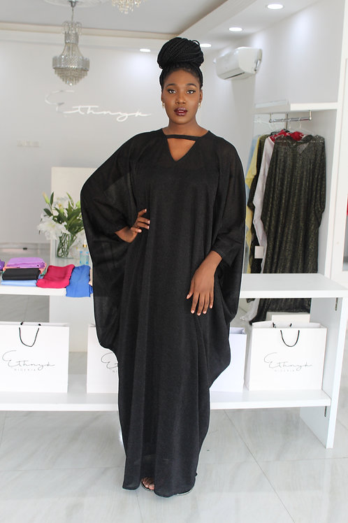 Yimi Black Metallic Kaftan