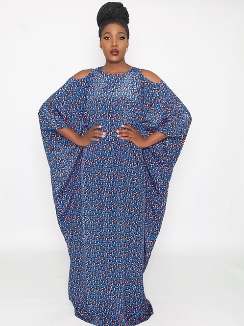 Ama Cut Out Blue Abstract Kaftan