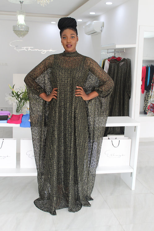 Eniyii Black and Gold Lace Kaftan New