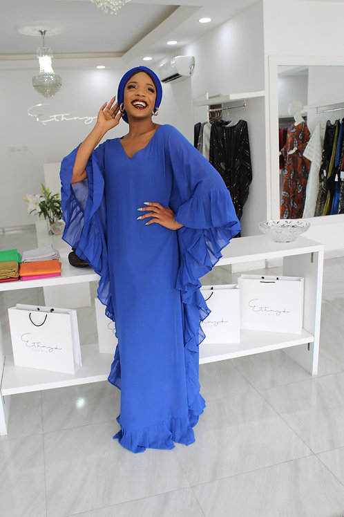 Ebun V Neck Royal Blue Kaftan