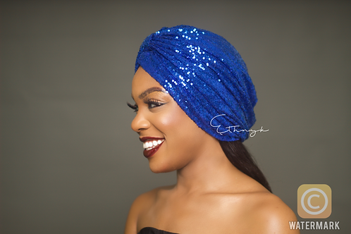 Peju Royal Blue Sequin Turban