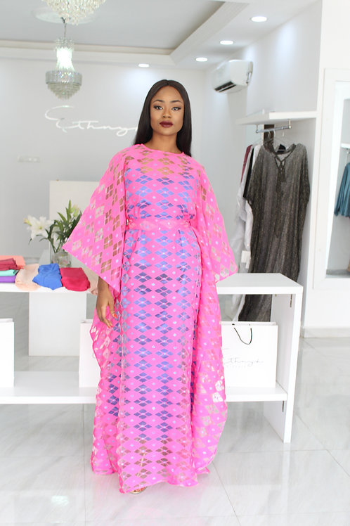 Ama Luxe Pink and Blue Diamond Kaftan