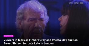 Viewers in tears as Finbar Furey and Imelda May duet on Sweet Sixteen for Late Late in London