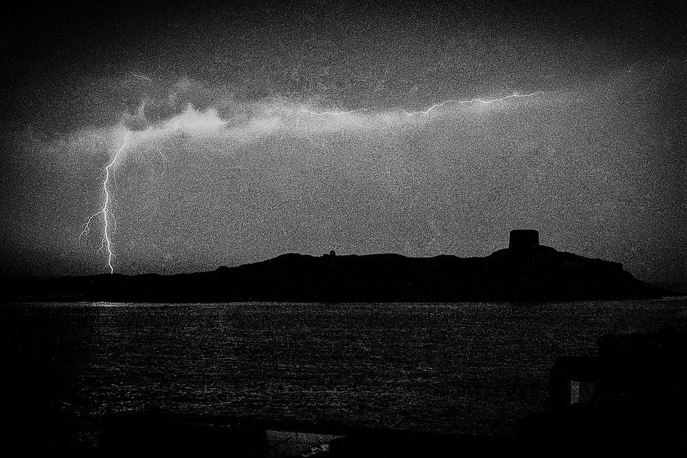 lightening over Dalkey island May 1989