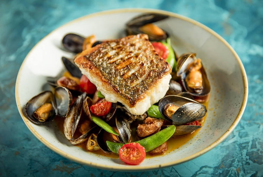 Food photography of Irish Cod and mussels / Cod and Mussels