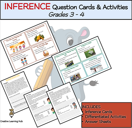 INFERENCE Question Cards & Activities Grades 3 - 4