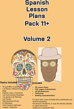Spanish Lesson Plans Pack 11+ Vol 2