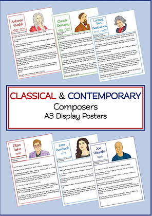 Classical & Contemporary Composers A3 Display Posters