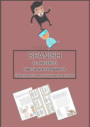 SPANISH EL PRETERITO Task Cards Printables Kit