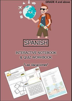 SPANISH INTERACTIVE NOTEBOOK QUIZ WORKBOOK Las Vacaciones Grade4