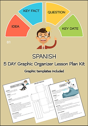 SPANISH 5 DAY Graphic Organizer Lesson Plan Kit Primary School Learners