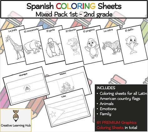 Spanish COLORING Sheets Mixed Pack (1st - 2nd grade)