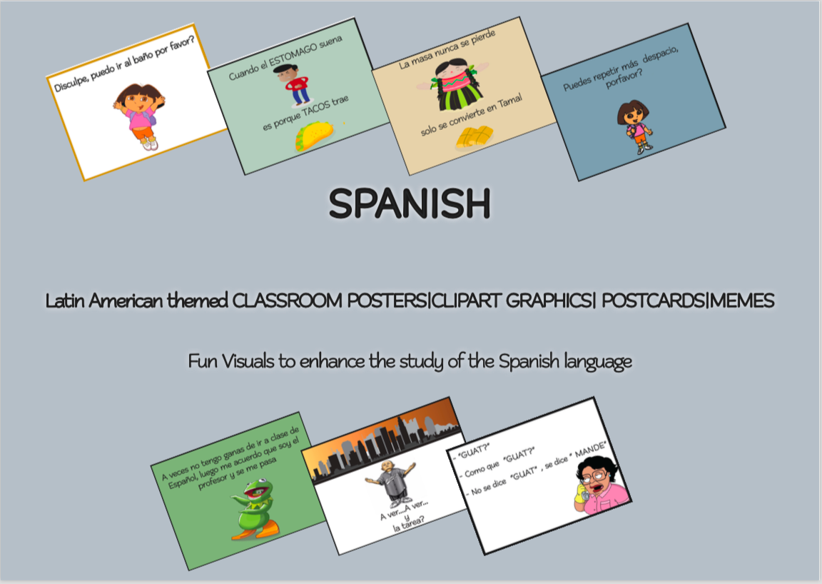 SPANISH Latin American themed CLASSROOM POSTERS CLIPART GRAPHICS