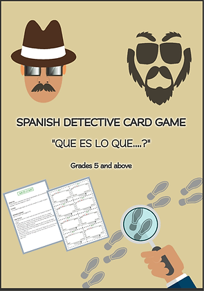 SPANISH DETECTIVE CARD GAME QUE ES LO QUE Grades 5 and above