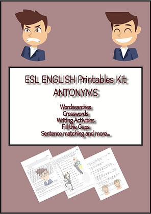 ESL English Antonyms Printables Kit Level ELEMENTARY
