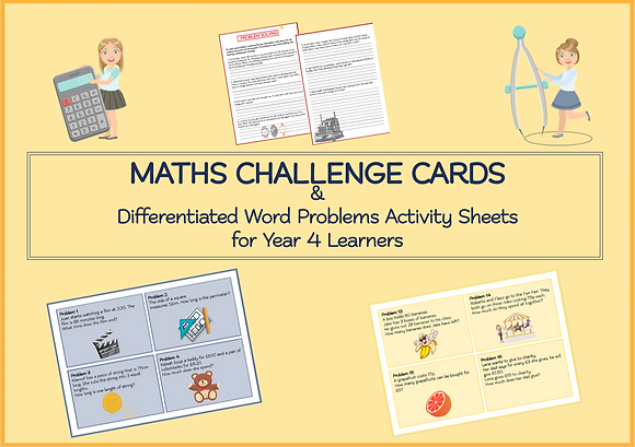 MATHS CHALLENGE CARDS & Differentiated Word Problems Activity Sheets