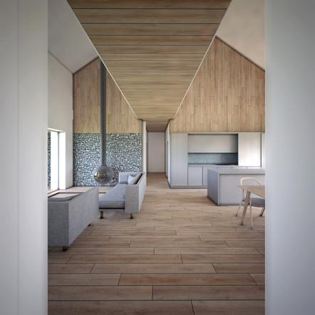 House-S widok na salon z korytarza