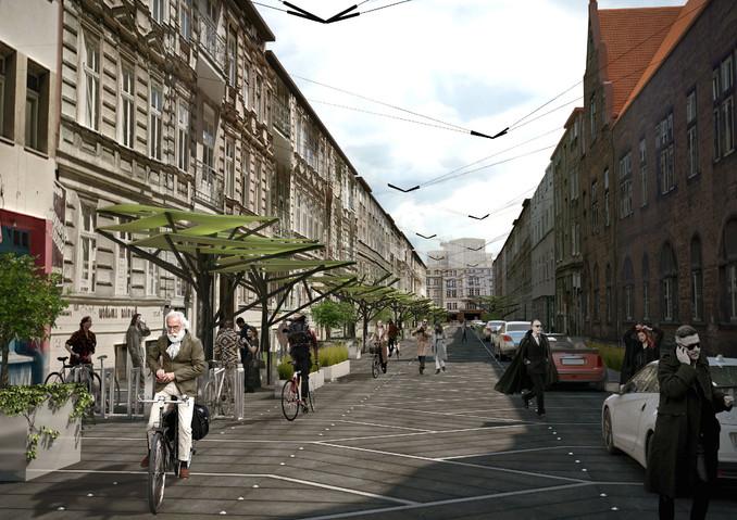 Taczaka widok posadzki ulicy