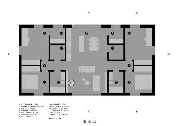 House-S symetryczny rzut parteru