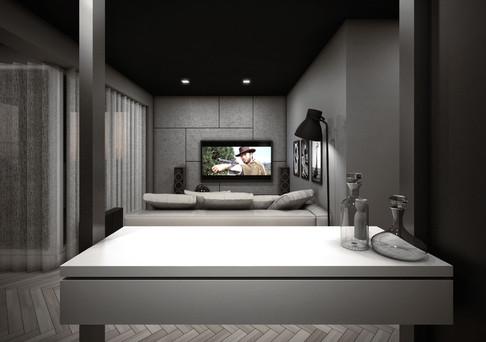 Interior-N widok z barku na salon