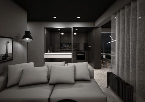 Interior-N nisza kuchni widziana z salonu
