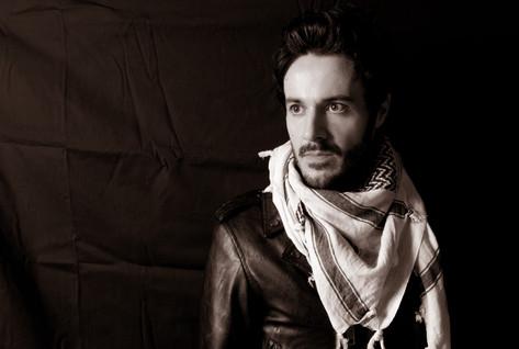 James Kennedy, Singer, Songwriter, Producer, Kyshera, Konic Records,  UK, Wales, music, rock, band, alternative, scarf, leather, male, model, pose,