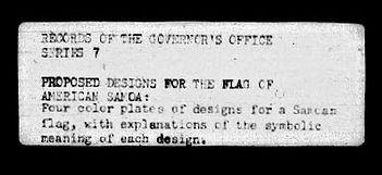 1. Folder label of Flag of Am. Samoa Des