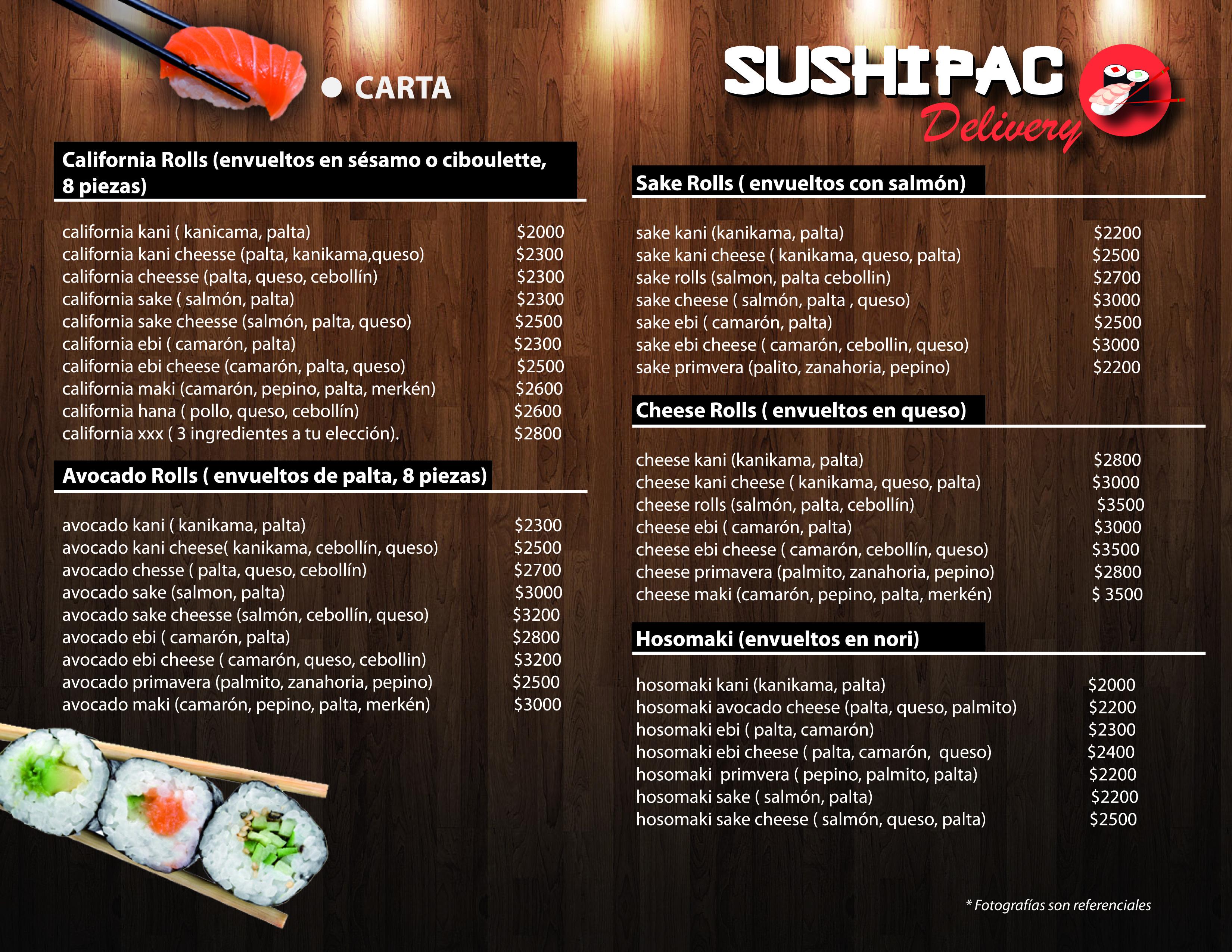 Menú Sushi Pac