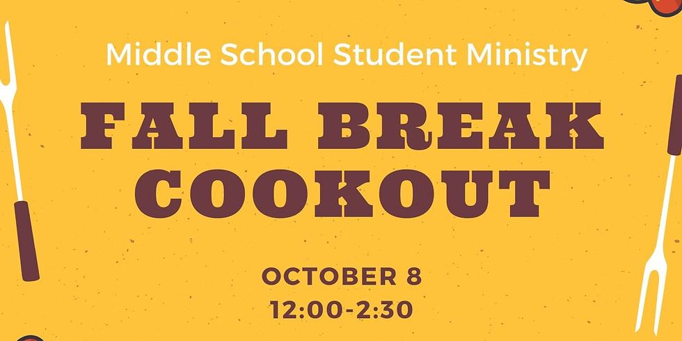 Middle School Fall Break Cookout