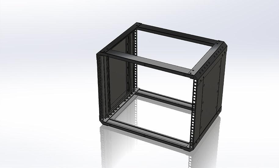 "Compact 8U Rack with Side Panels - 19"" Wide -14"" Deep - Black Powder Coat"