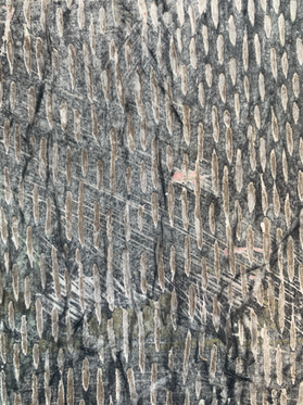 Tissue, Charcoal, Gesso, Ink on wood (close up)