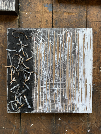 Tissue, Charcoal, Gesso, Ink, Oil Stick, wood on wood