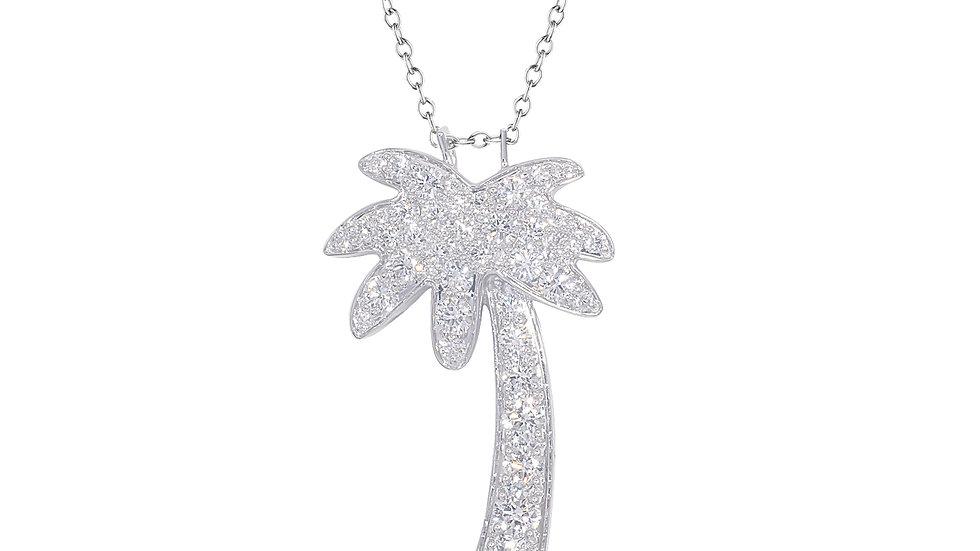 Palm Tree Diamond Pendant with Chain