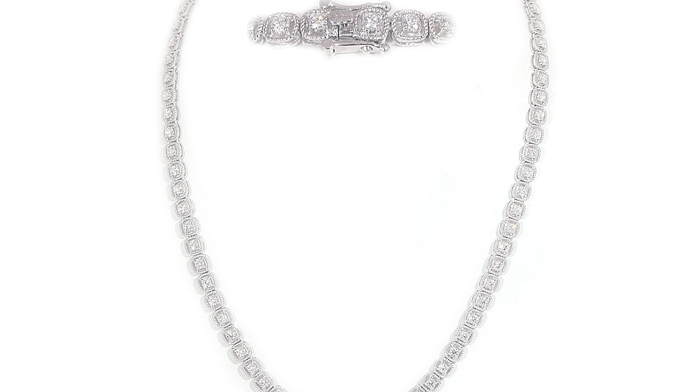 Diamond Cushion Frame Tennis Necklace