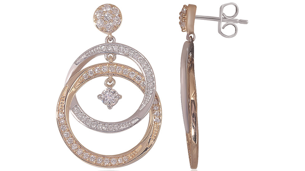 Double Circle Lightweight Dangle Drop Earrings