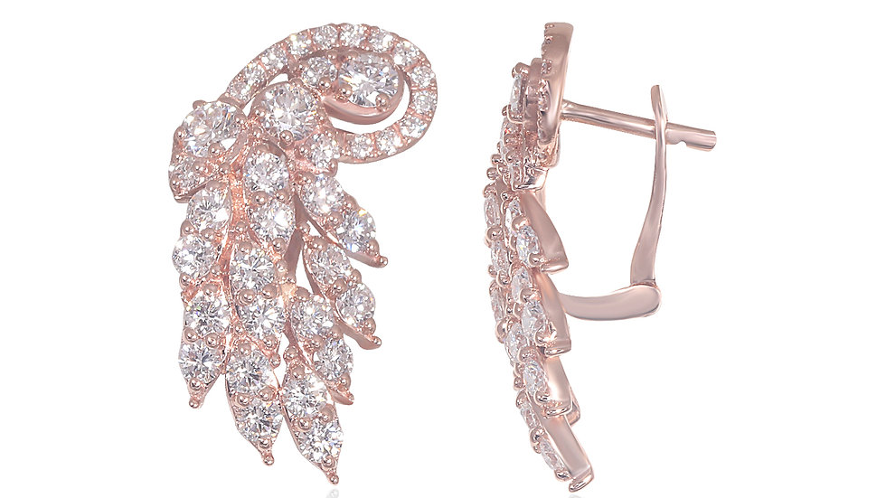 Peacock feather Diamond Earring