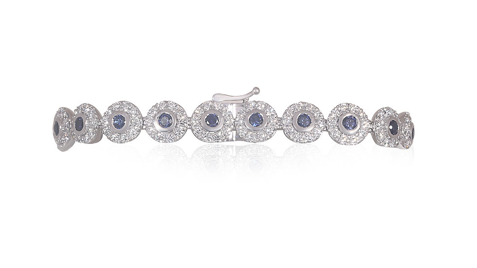 DIAMOND HALO VINTAGE BRACELET 14K WHITE GOLD (5.22CT)