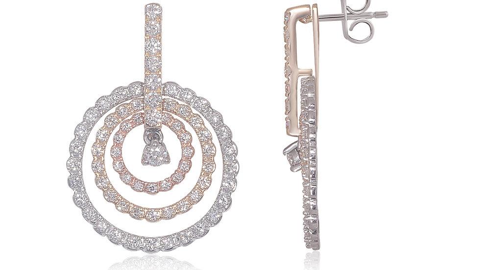 Diamond Dangling Circles Lady's Earring.