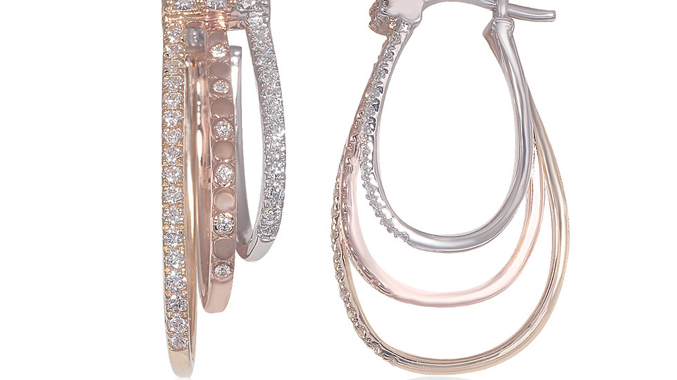 Triple-Color Gold Diamond Hoop Earring
