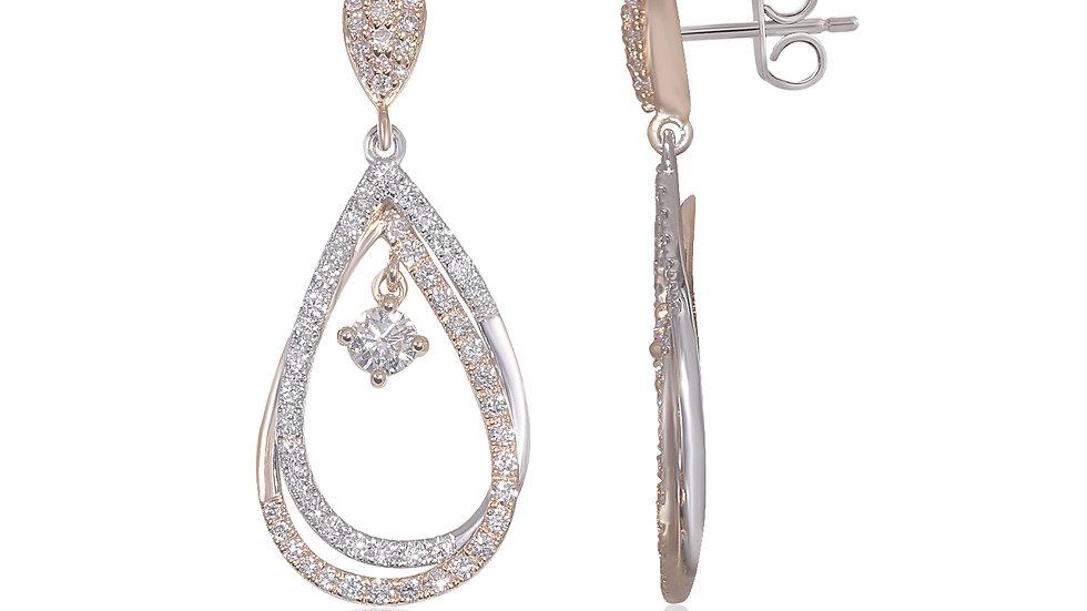Pear Drop Diamond  Dangling Earring