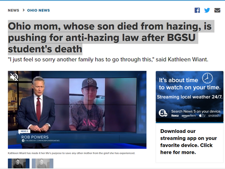 5abc - Ohio mom, whose son died from hazing, is pushing for anti-hazing law after BGSU student's dea