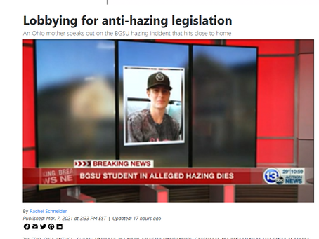 13abc - Lobbying for anti-hazing legislation. Ohio mother speaks out on the BGSU hazing incident t