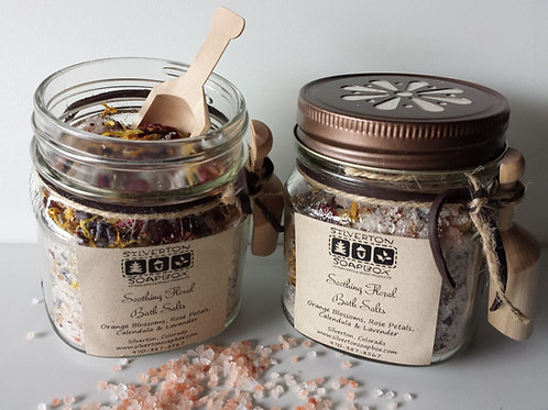 Soothing Floral Bath Salts with Wooden Spoon