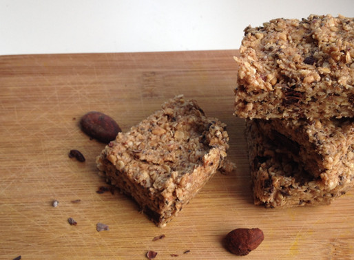 Oatmeal,chia and cacao raw energy bars