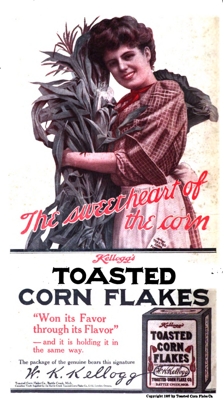 Propaganda de Corn Flakes, 1907.