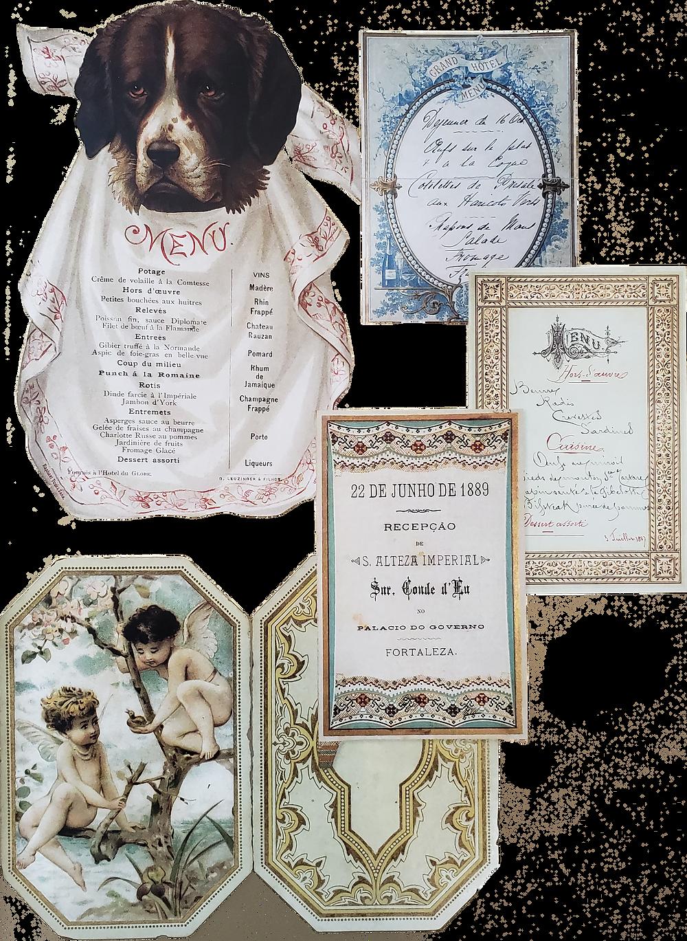 """Alguns dos cardápios colecionados por Pedro II, apresentados no livro """"Os Banquetes do Imperador"""""""