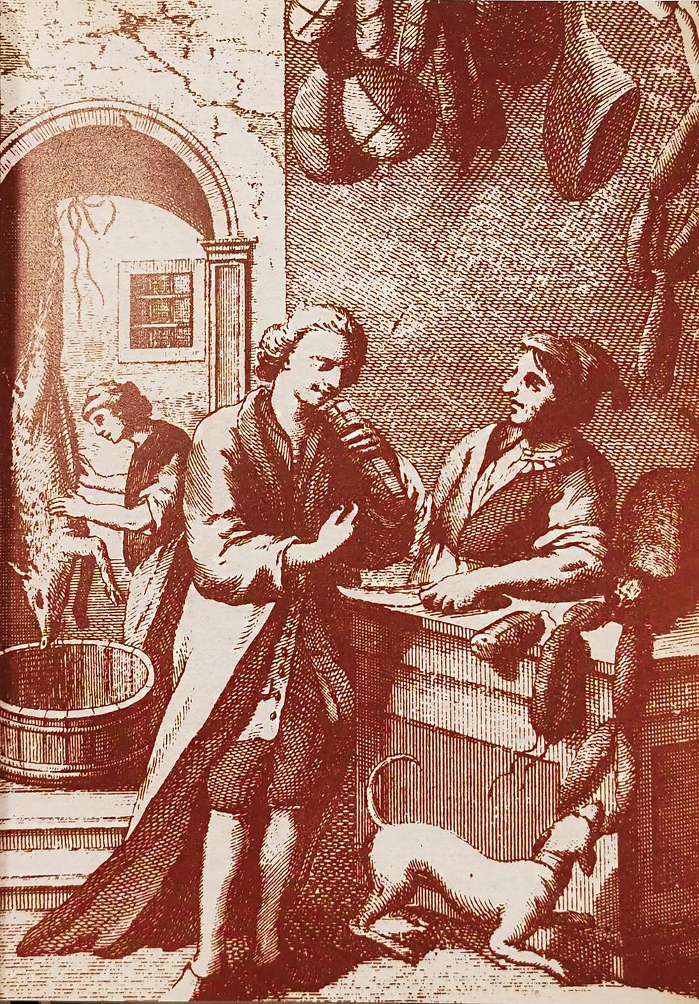 Il Salumaio. Estampa do século XVIII, Bolonha,Itália. Arquivo do estado de Parma.